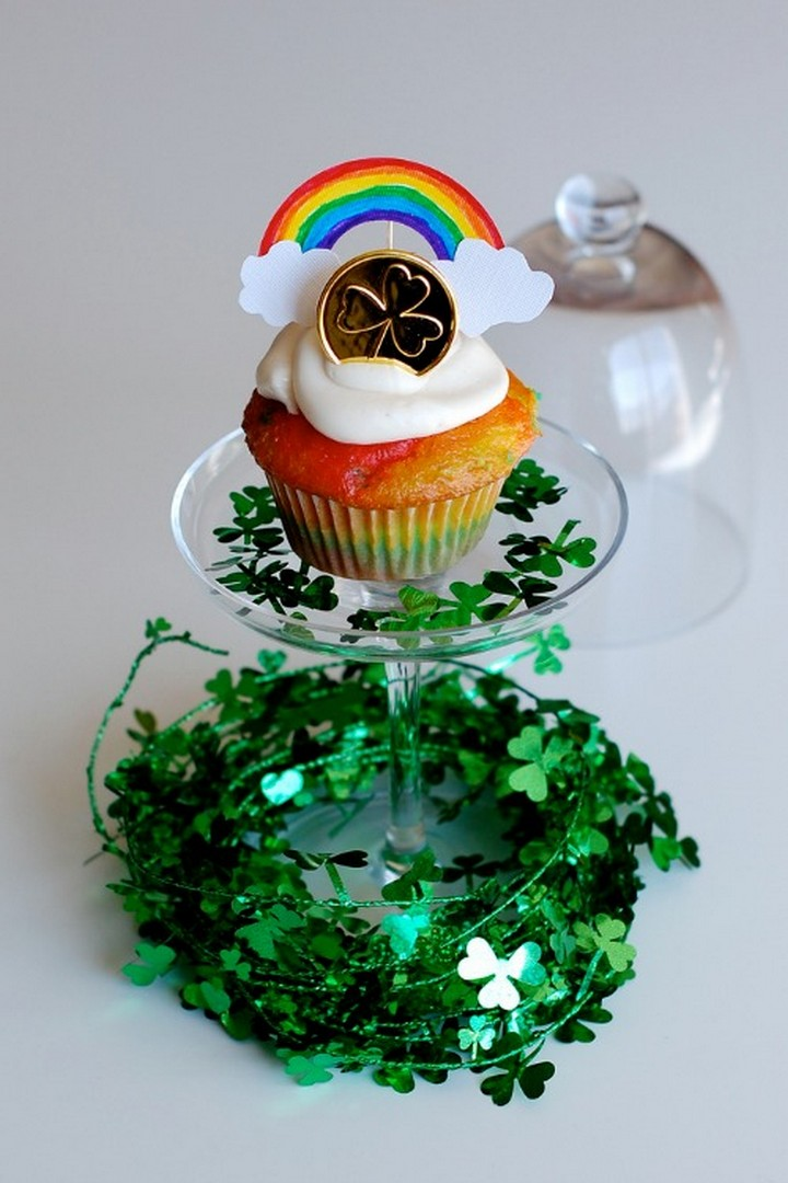 Rainbow Cupcakes and Toppers for St. Patrick's Day
