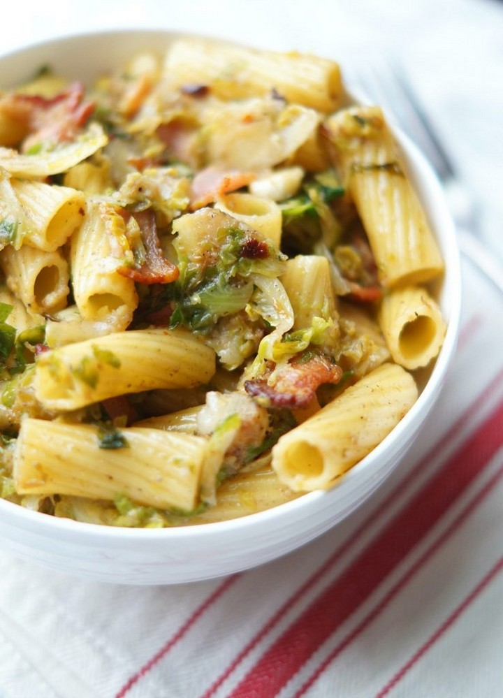 Rigatoni with Shredded Brussel Sprouts and Bacon