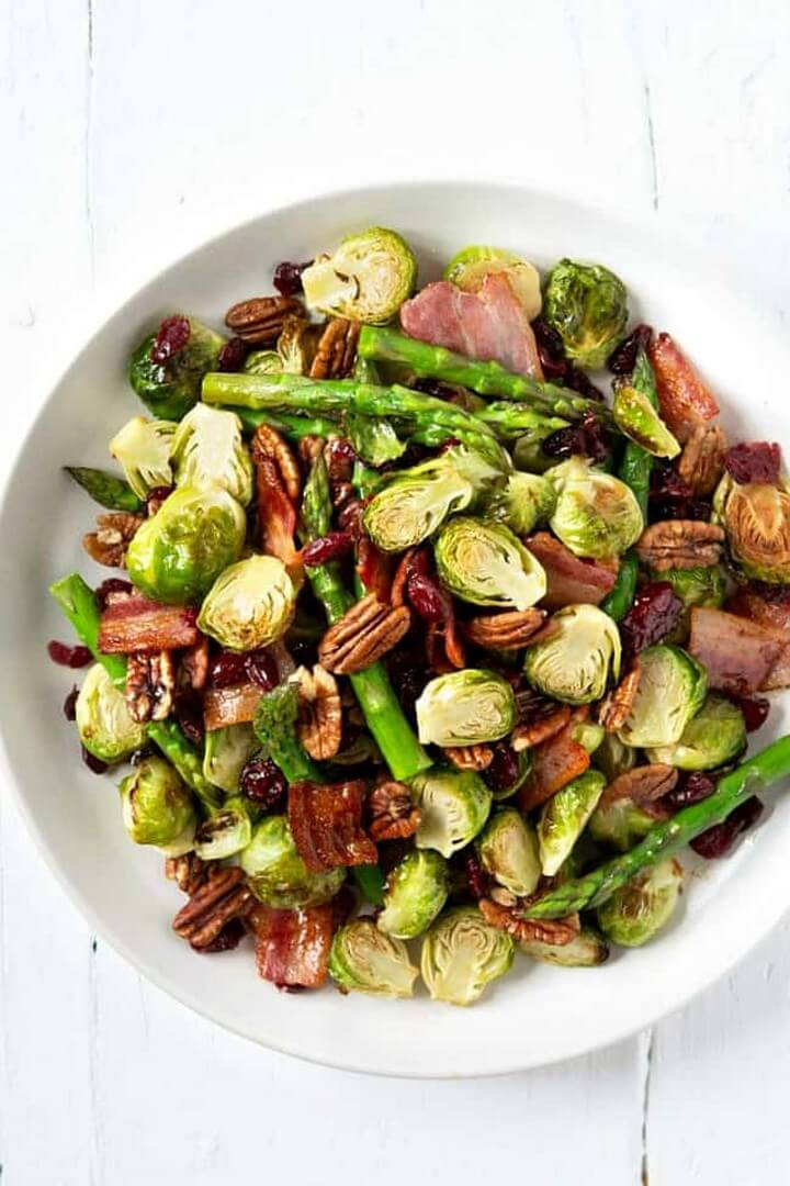 Roasted Brussels Sprouts Asparagus with Maple Bacon