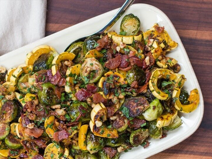 Roasted Brussels Sprouts and Squash with Crispy Bacon Dressing 1