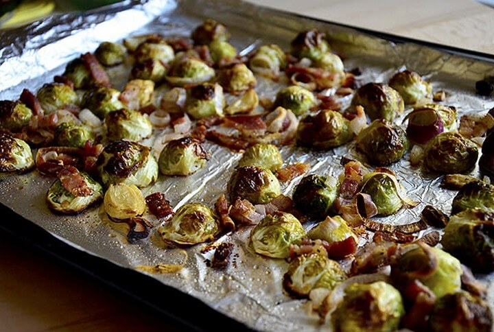 Roasted Brussels Sprouts with Bacon Shallots and Garlic
