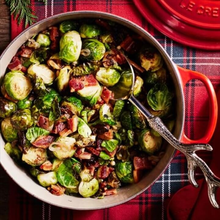 Roasted Brussels Sprouts with Pine Nuts and Bacon 1