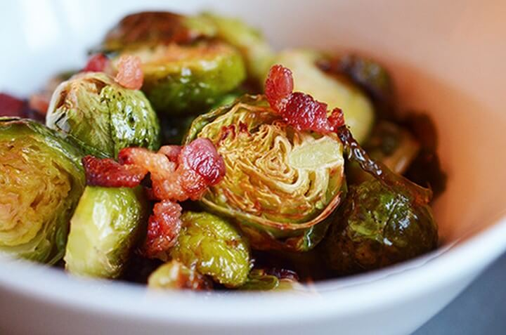 Roasted Brussels Sprouts with Shallots Bacon