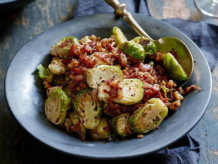 Roasted Brussels Sprouts with a Bacon Mustard and Walnut Vinaigrette 1