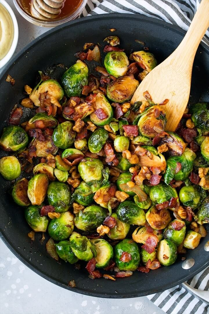 Sauteed Brussels Sprouts with Bacon Onions and Walnuts 1