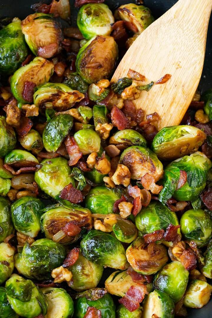 Sauteed Brussels Sprouts with Bacon Onions and Walnuts 2