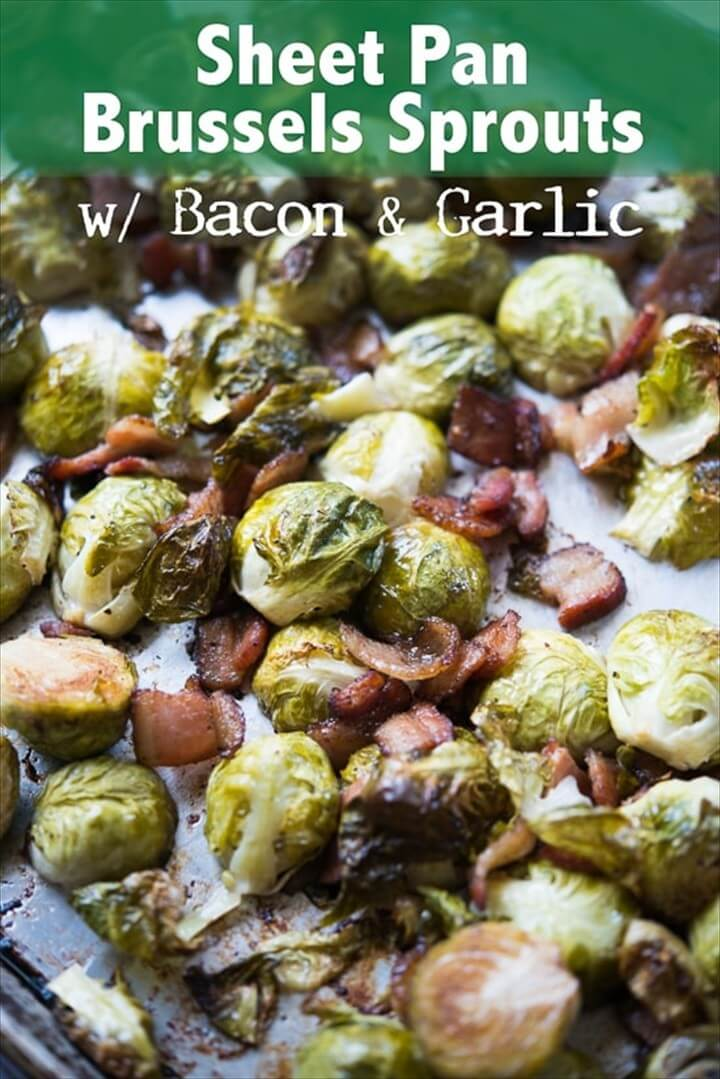 Sheet Pan Brussels Sprouts with Bacon Garlic 1