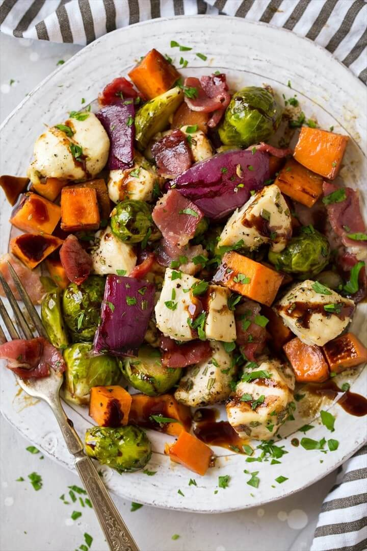 Sheet Pan Chicken Sweet Potatoes and Brussels Sprouts with Bacon and Balsamic Glaze 1