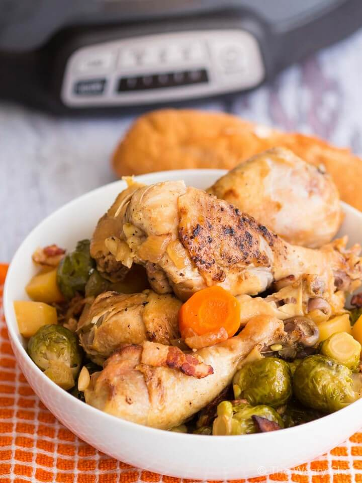 Slow Cooker Brussel Sprouts Recipe with Bacon and Chicken