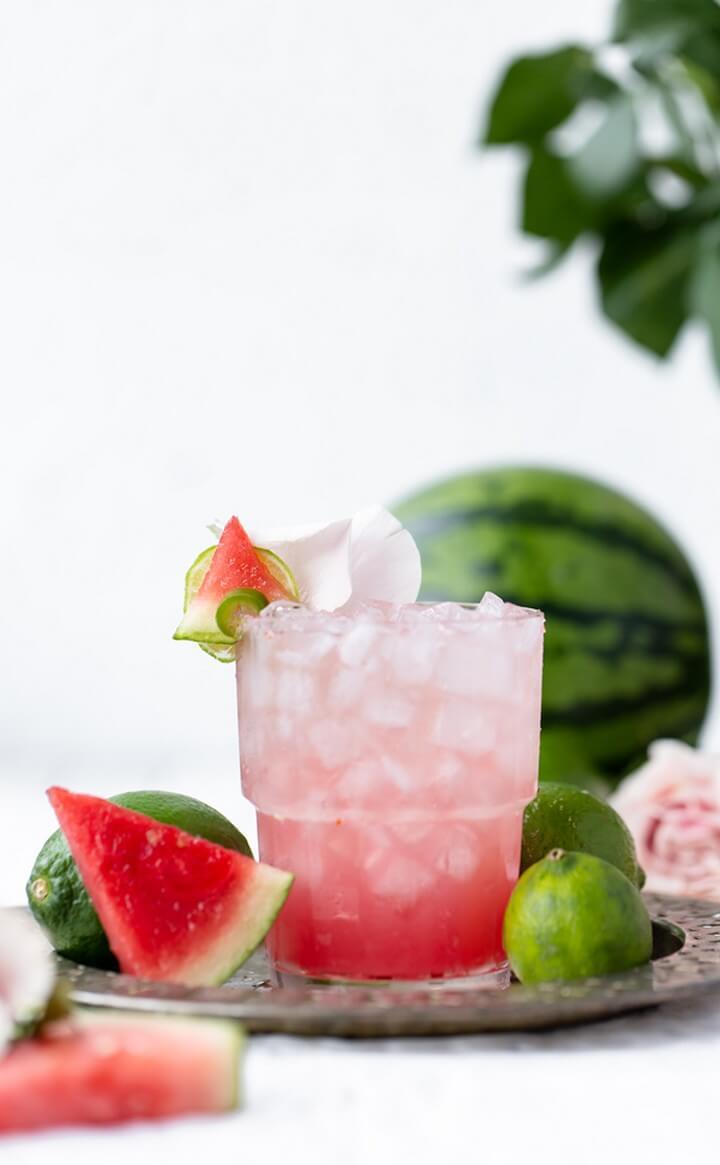 Sweet Spicy Sparkling Rosé Watermelon Margarita