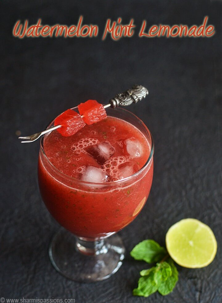 Watermelon Juice with Mint and Lemon