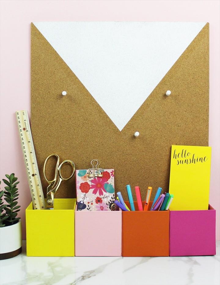 5 Minute Colorful DIY Desk Organizer