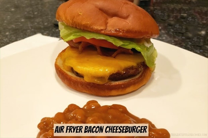 Air Fryer Bacon Cheeseburger