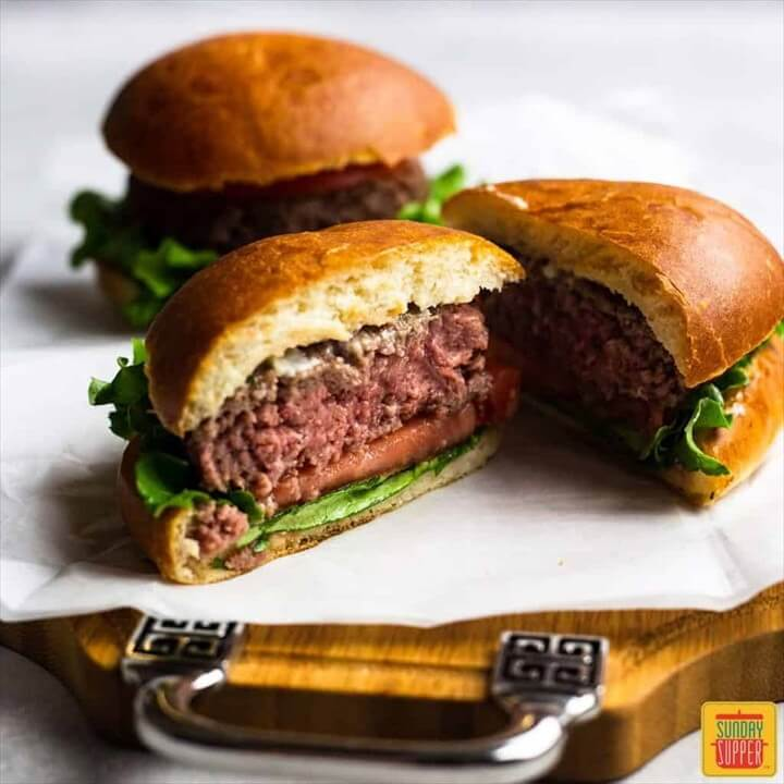 Air Fryer Burger Garlic Butter Burger