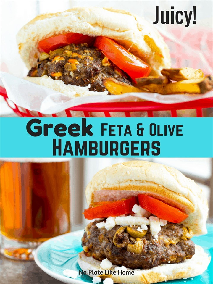 Air Fryer Juicy Greek Feta and Olive Hamburgers
