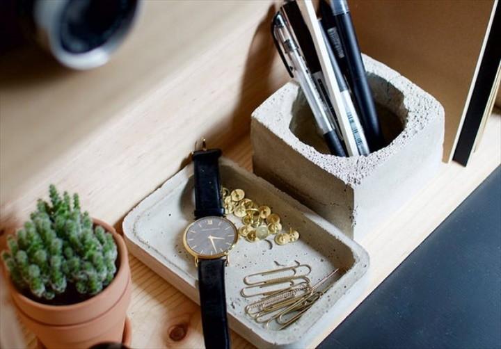 DIY Cement Desk Organiser