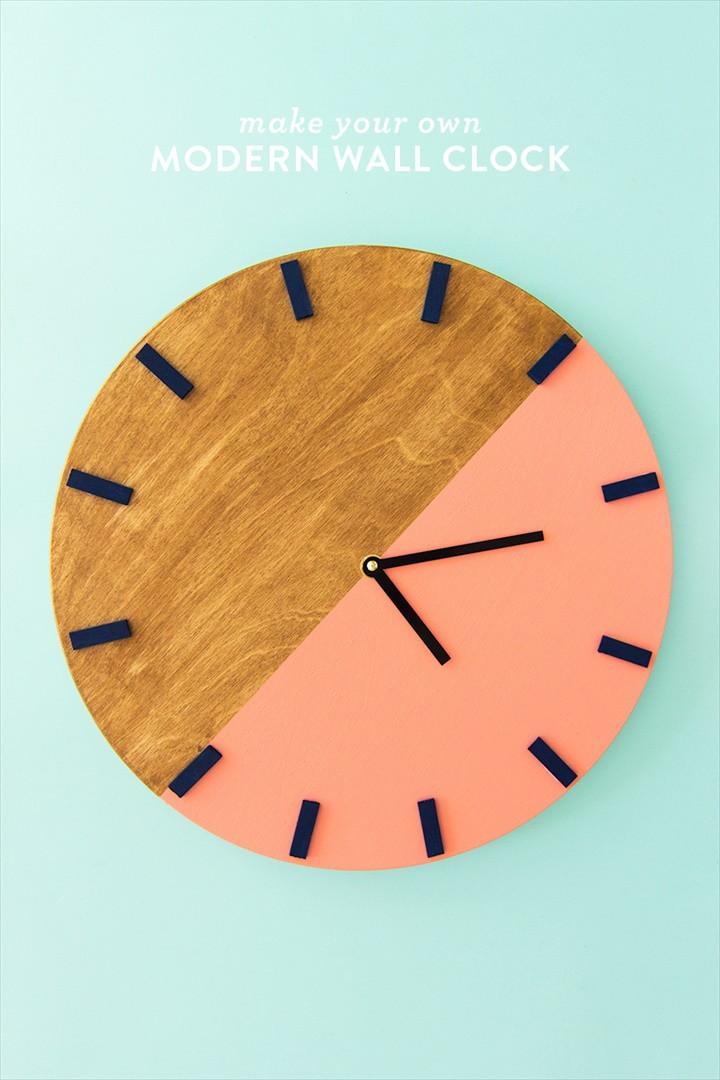 DIY Colorblock Wall Clock