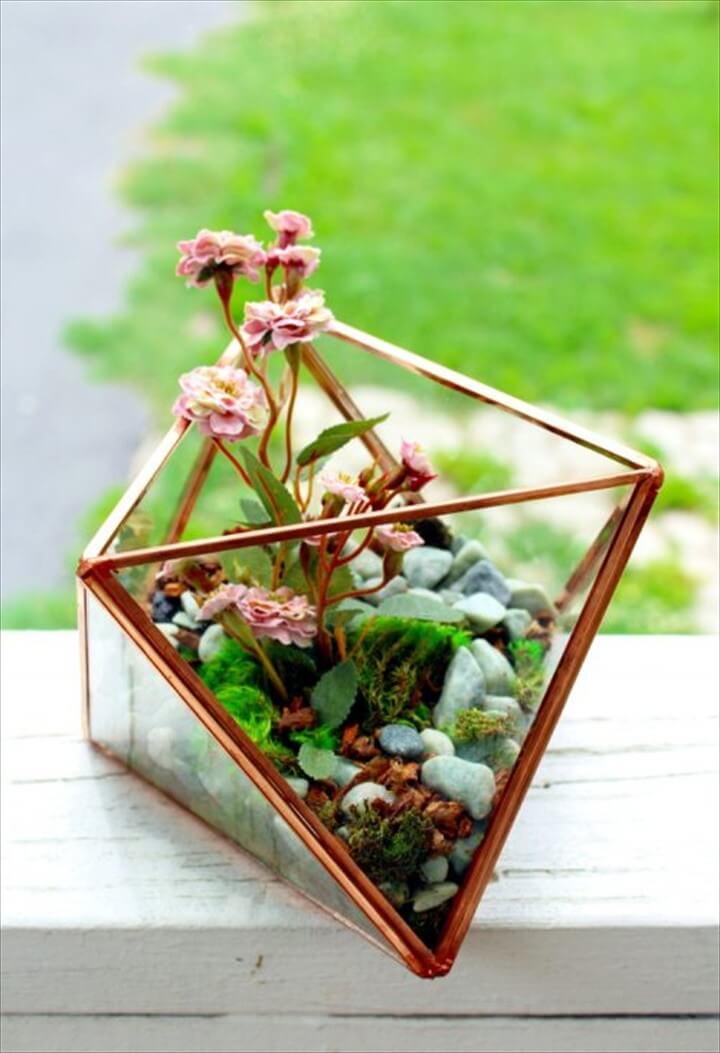 DIY Geometric Glass Terrarium with Faux Plants