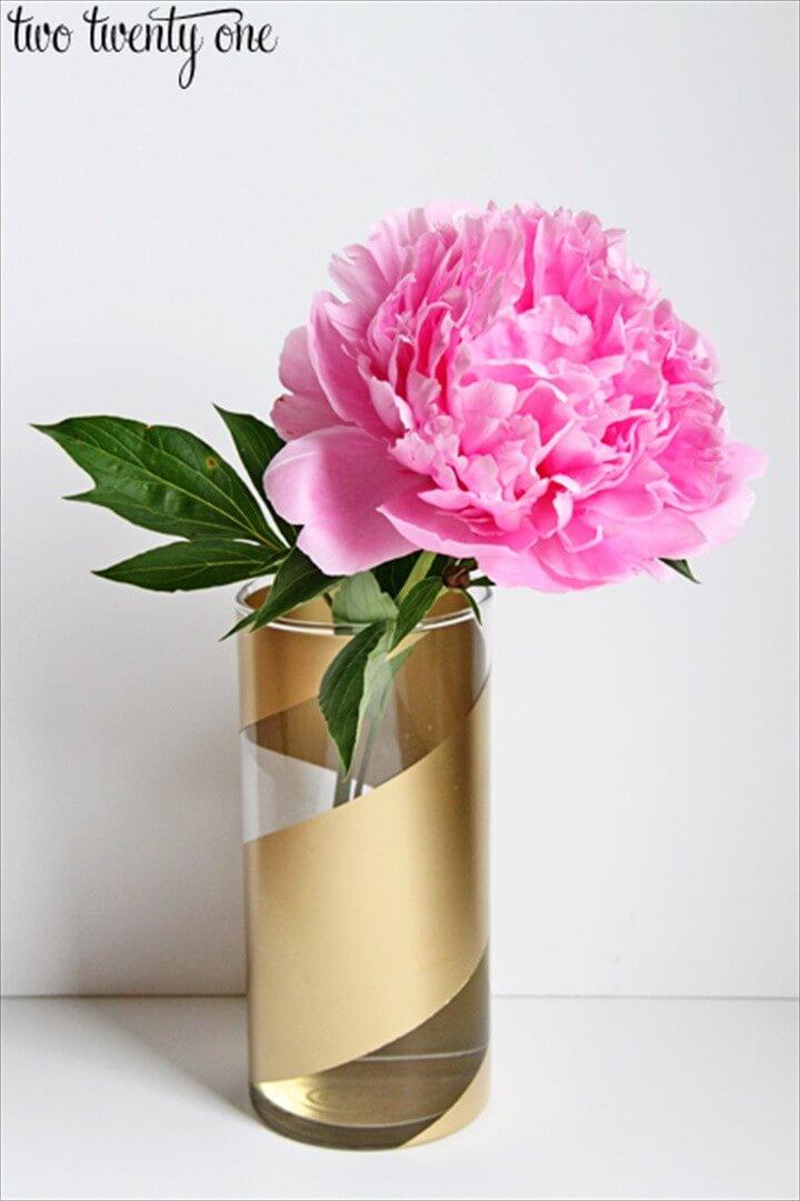 DIY Gold Striped Vases