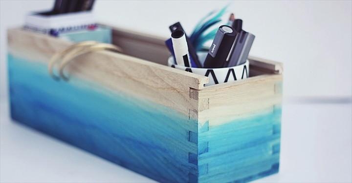 DIY Ombre Watercolored Box