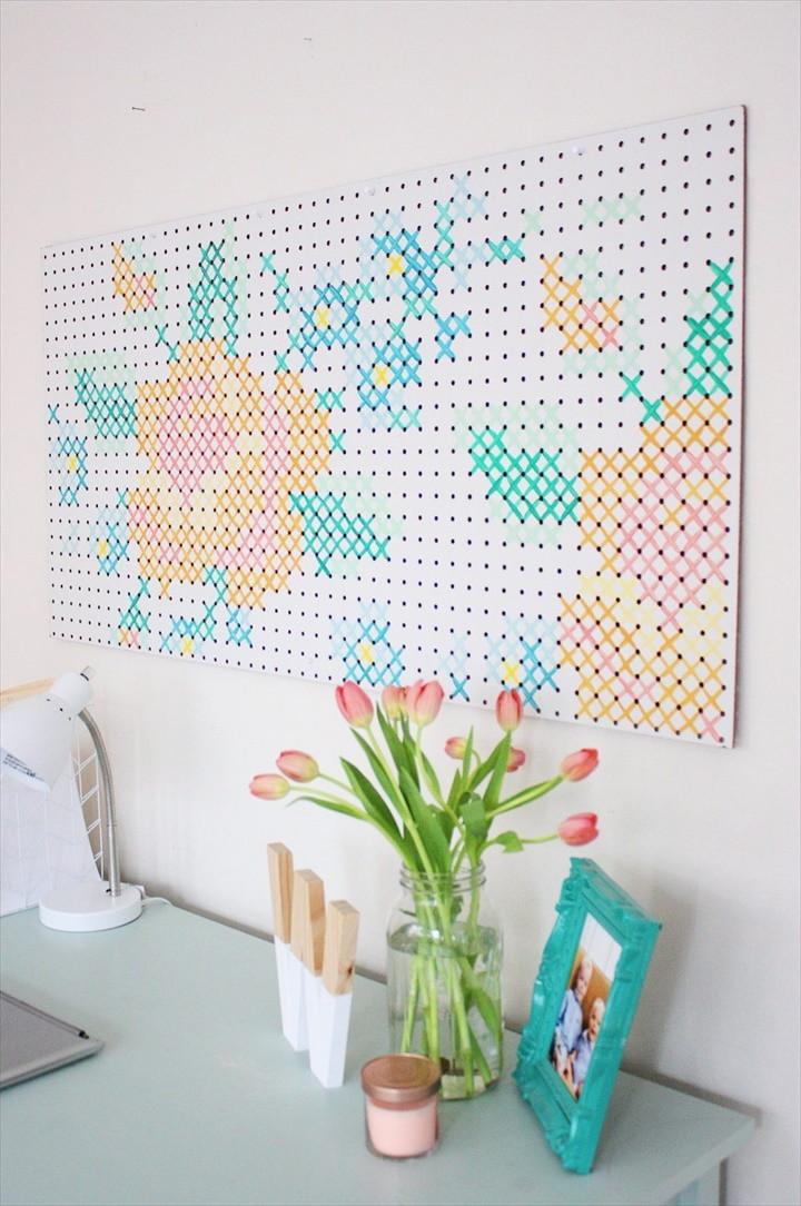 DIY Painted Cross Stitch Art