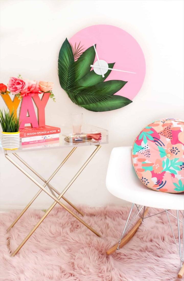 DIY Plants On Pink Clock