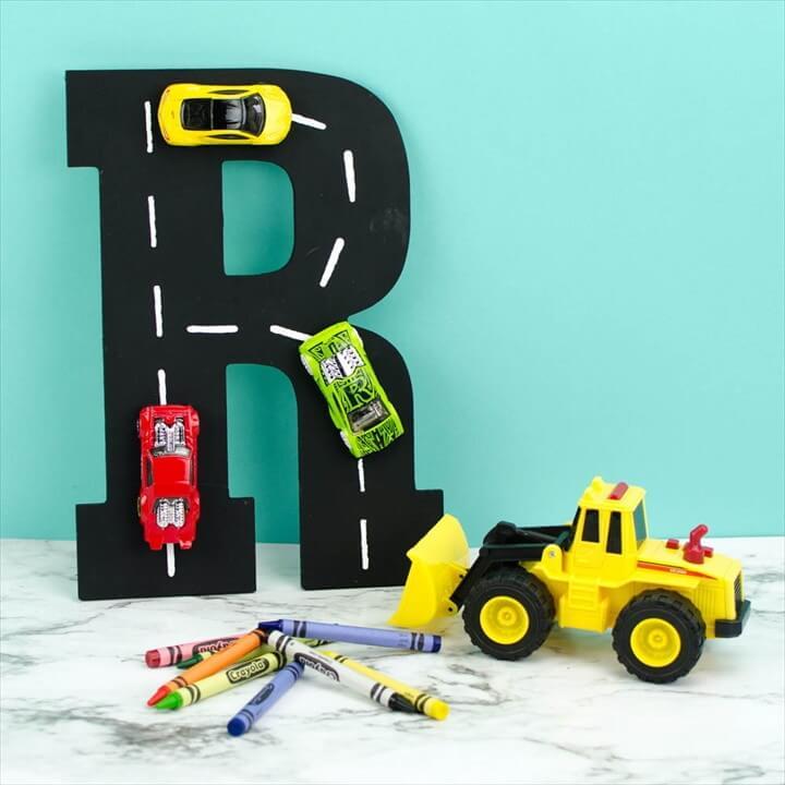 DIY Racetrack Letter Wall Art