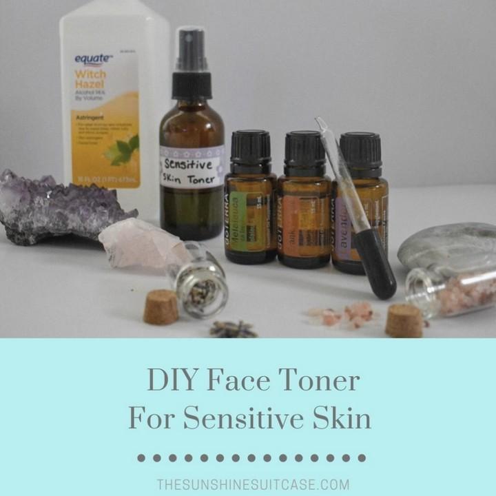 DIY Recipe Facial Toner for Sensitive Skin with Essential Oils