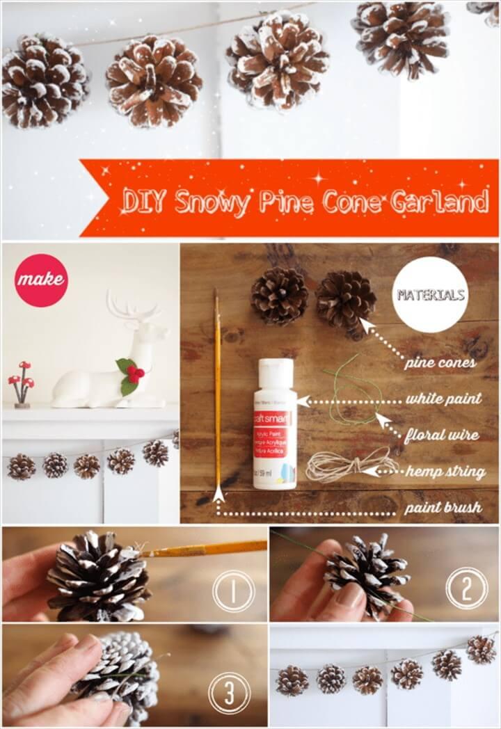 DIY Snowy Pine Cone Garland