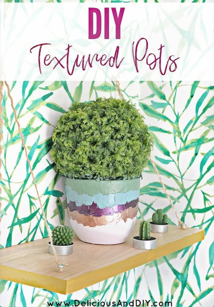 DIY Textured Dollar Store Pots