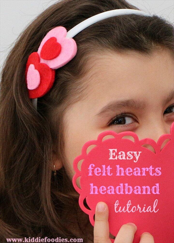 Easy Felt Hearts Headband Tutorial