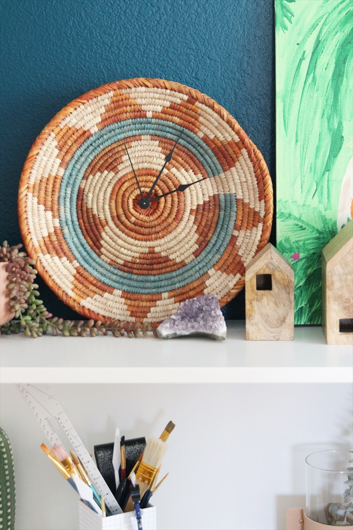 How To Turn A Woven Bowl Into A DIY Wall Clock