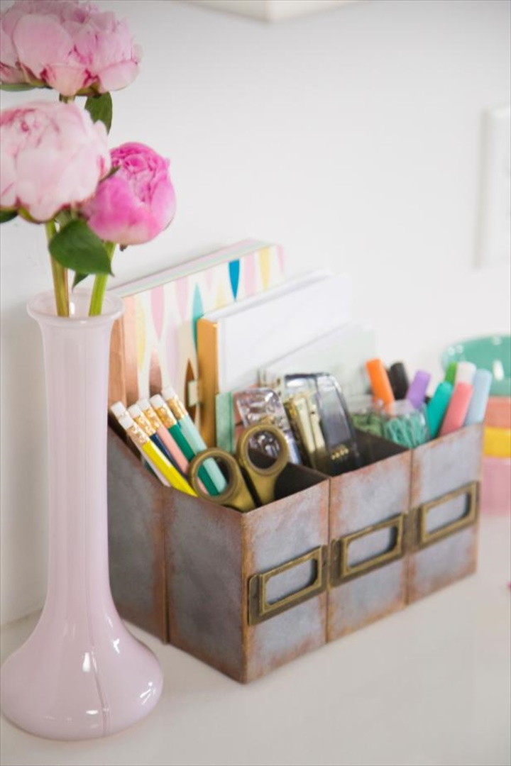 How to Make a Faux Metal Desk Organizer Out of Cardboard