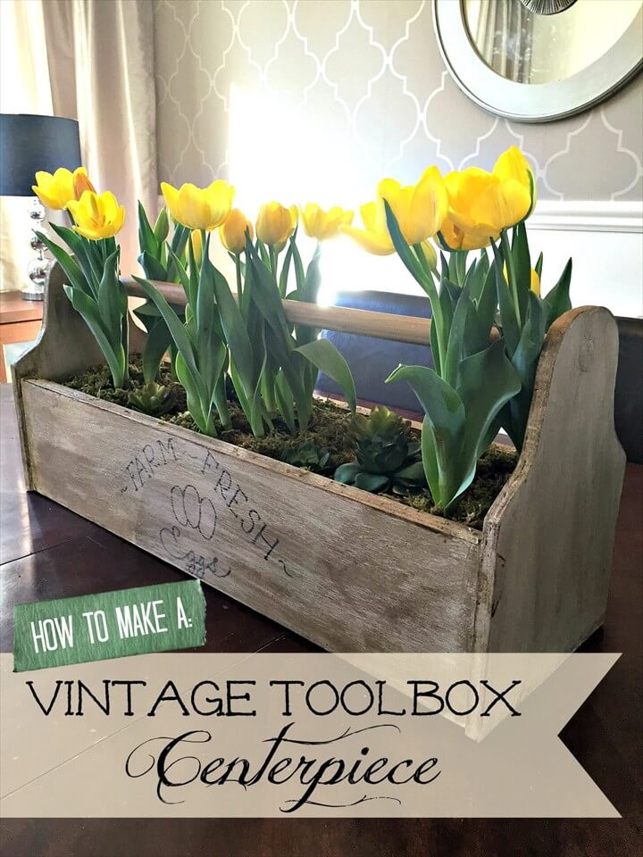 How to Make a Vintage Toolbox Centerpiece