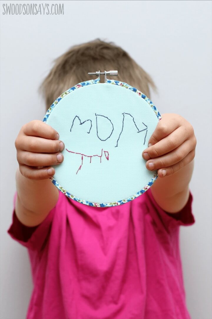 Kid Made Hand Embroidered Mother's Day Gift