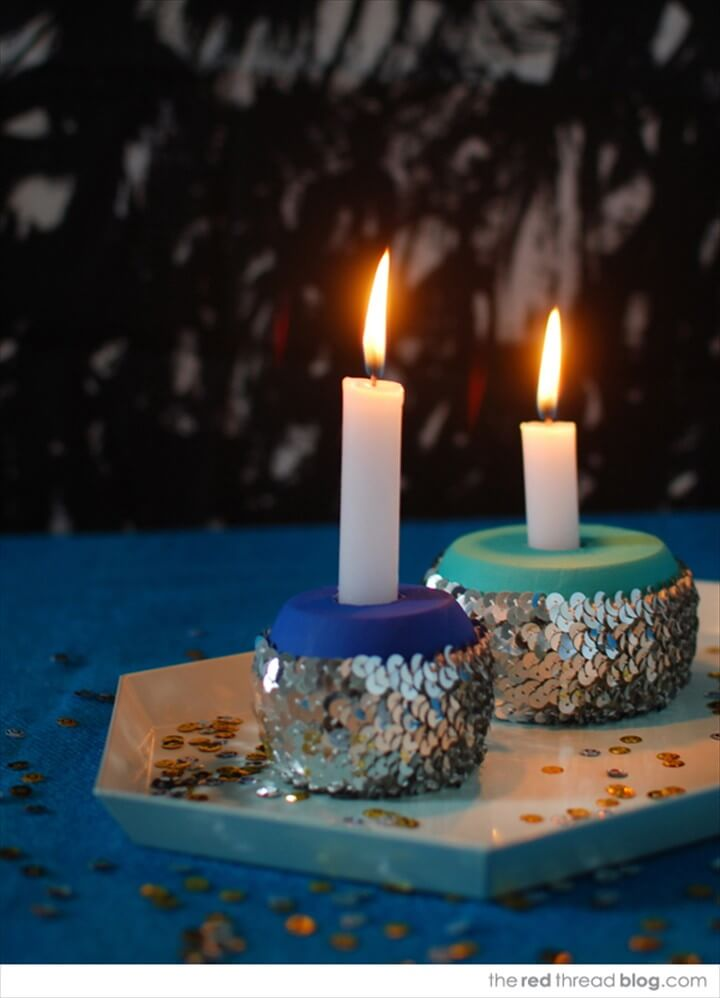 Make Sequin Candle Holders For Your Festive Table