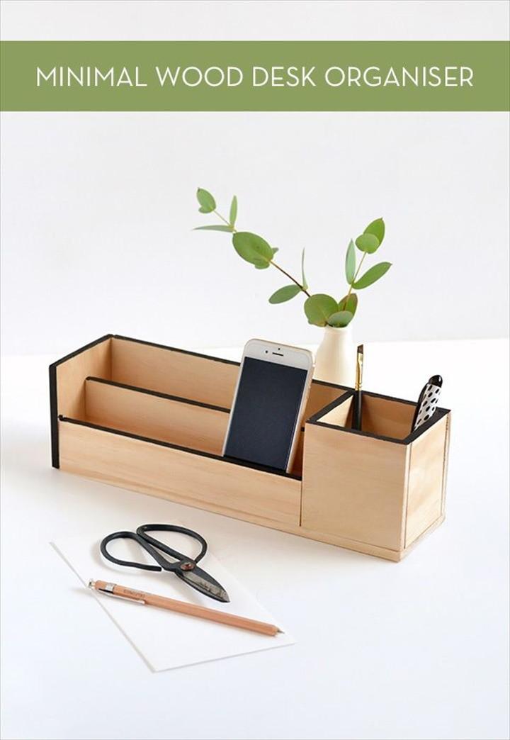 Minimal Wood Desk Organizer