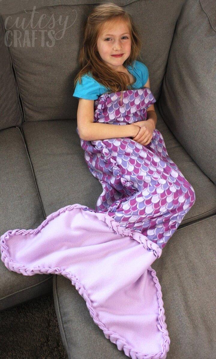 No Sew Fleece Mermaid Tail Blanket Pattern