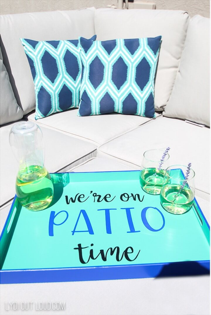 Outdoor DIY Serving Tray Makeover