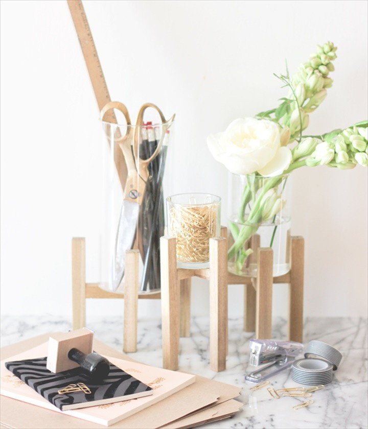 Raised Wood And Glass Desk Organizer