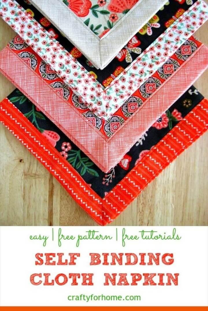 Self Binding Cloth Napkins Tutorial