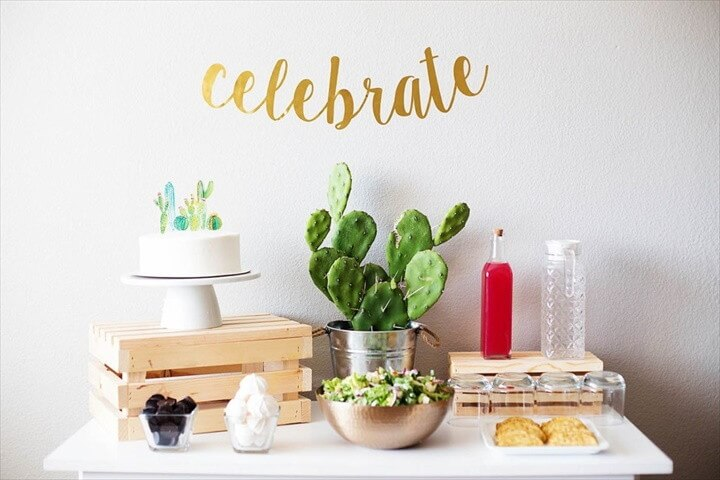 Simple Cactus Themed Baby Shower