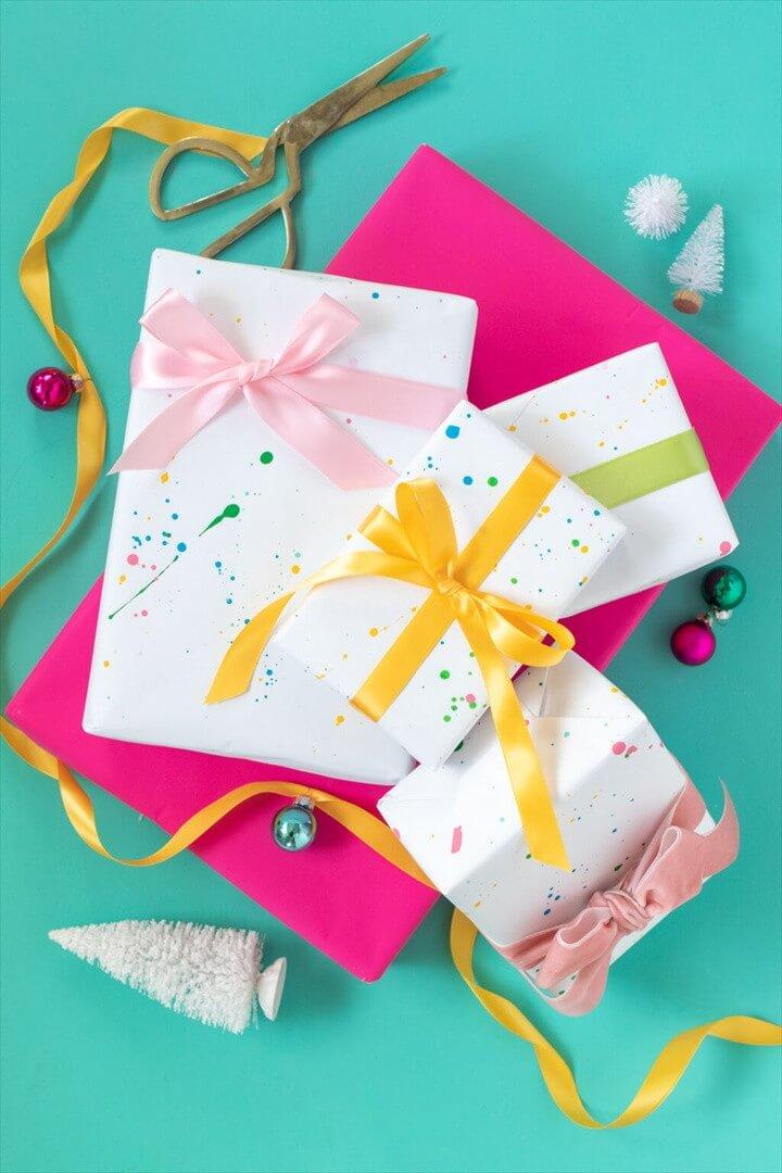 Splatter Painted Gift Wrap