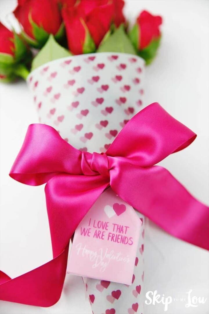 Valentine Printable Flower Bouquet Wrap