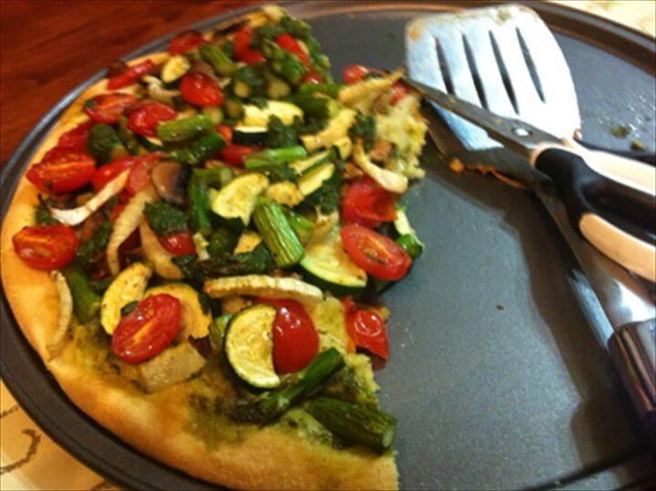 Vegan Pizza Primavera with Salsa Verde