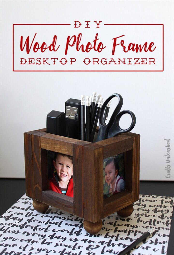 Wood Photo Frame DIY Desk Organizer