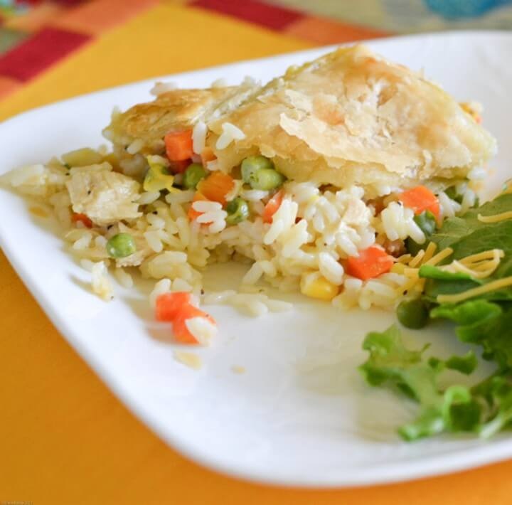 Easy Chicken and Rice Pot Pie