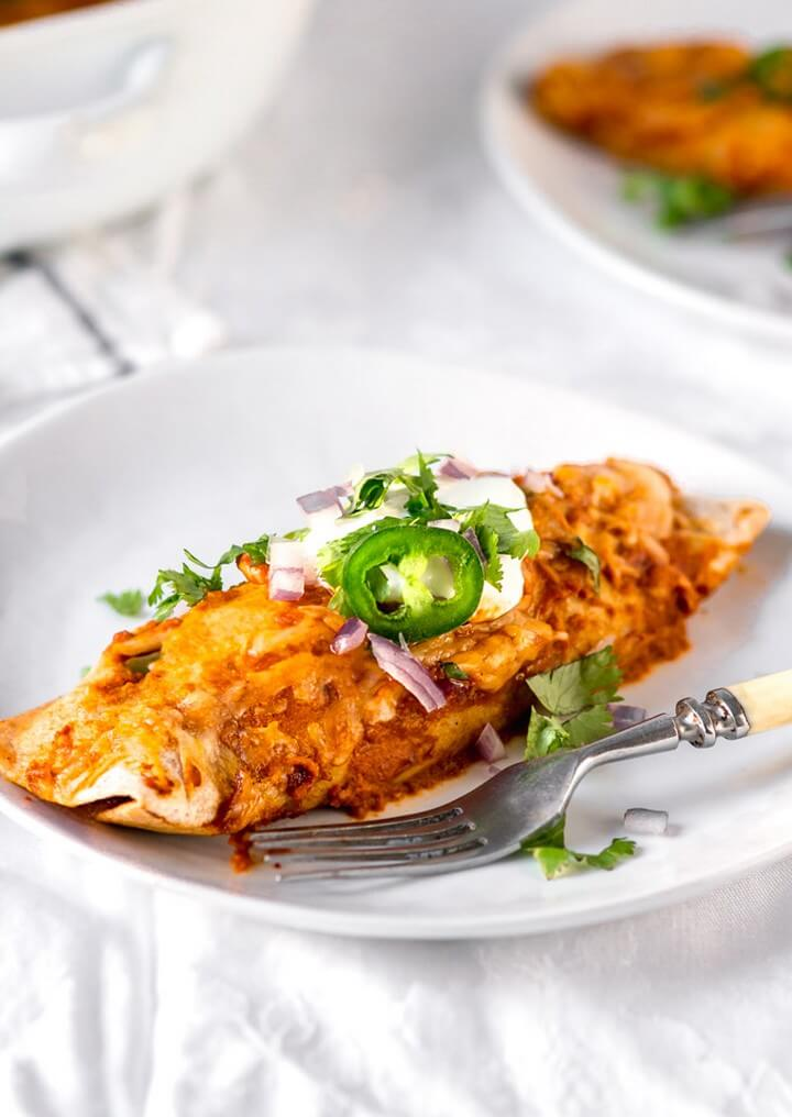 Rotisserie Chicken Enchiladas with a Simple Enchilada Sauce