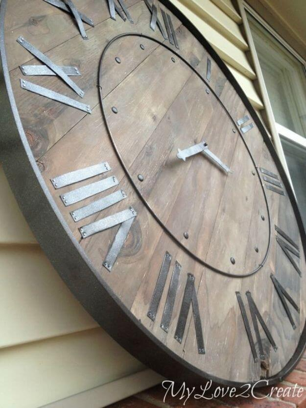 Large Rustic Clock Wall Art DIY