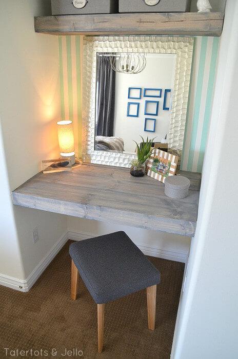 Make Floating Shelves for a Bedroom Workspace
